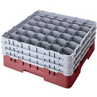 Cambro 36S1114163 Red Camrack 36 Compartment 11 3/4 inch Glass Rack