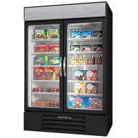 Beverage-Air MMF44-1-B-EL-LED MarketMax 47 inch Black Two Section Glass Door Merchandiser Freezer with Electronic Lock - 45 cu. ft.