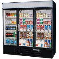 Beverage-Air MMF72-5-B-EL-LED MarketMax 75 inch Black Three Section Glass Door Merchandiser Freezer with Electronic Lock - 72 cu. ft.