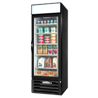 Beverage-Air MMR27-1-B-EL-LED MarketMax 30 inch Black One Section Glass Door Merchandiser Refrigerator with Electronic Lock - 27 cu. ft.