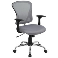 Mid-Back Gray Mesh Office Chair with Arms, Padded Seat, and Chrome Base