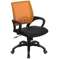 Mid-Back Computer / Office Chair with Orange Mesh Back and Black Leather Seat