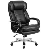 High-Back Black Leather Intensive-Use Multi-Shift Swivel Office Chair with Headrest and Loop Arms