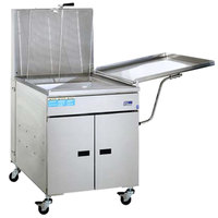 Pitco 24FF-M Liquid Propane 150-170 lb. High Capacity Food and Fish Floor Fryer with Mechanical Thermostat Controls and Drainboard - 150,000 BTU