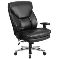 High-Back Black Leather Intensive-Use Multi-Shift Swivel Office Chair with Lumbar Support Knob and Padded Arms