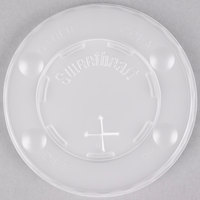 Dart Solo L10BLN-0100 10 oz. Translucent Flat Plastic Lid with Straw Slot and Identification Buttons - 100 / Pack