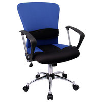 Mid-Back Blue Mesh Office Chair with Padded Seat, Chrome Swivel Base, and Polyurethane Arms