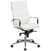 High-Back White Leather Executive Swivel Office Chair with Chrome Arms and Coat Rack
