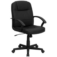 Mid-Back Black Leather Executive Swivel Office Chair with Polypropylene Arms