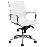 Mid-Back White Ribbed Leather Executive Swivel Office Chair with Aluminum Arms and Coat Rack