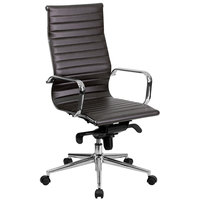 High-Back Brown Ribbed Leather Executive Swivel Office Chair with Aluminum Arms and Coat Rack