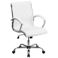 Mid-Back White Designer Leather Executive Office Chair with Chrome Arms and Foam-Molded Seat