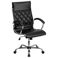 High-Back Black Designer Leather Executive Office Chair with Chrome Arms and Foam-Molded Seat