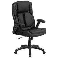 High-Back Black Leather Executive Swivel Office Chair with Outer Lumbar Support and Flip-Up Arms