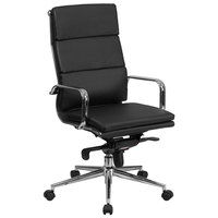 High-Back Black Leather Executive Swivel Office Chair with Chrome Arms and Coat Rack