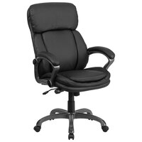 High-Back Black Leather Executive Swivel Office Chair with Lumbar Support Knob and Loop Arms