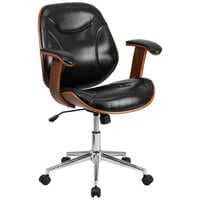 Mid-Back Black Leather Executive Wood Office Swivel Chair