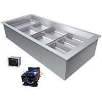 Hatco CWBR-4 Four Pan Slanted Refrigerated Drop-In Cold Food Well with Drain and Remote Condenser - 120V