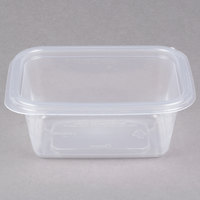 Genpak FPR016-CL Smart-Set Pro 16 oz. Clear 4 5/8 inch x 5 7/8 inch x 2 3/8 inch Rectangular Microwaveable Container - 300/Case