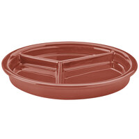 Hall China 31901334 Paprika 9 1/16 inch x 1 1/8 inch Colorations 3 Compartment Divided Plate - 12 / Case