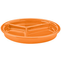 Hall China 31901325 Tangerine 9 1/16 inch x 1 1/8 inch Colorations 3 Compartment Divided Plate - 12/Pack