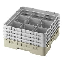 Cambro 9S638184 Beige Camrack 9 Compartment 6 7/8 inch Glass Rack