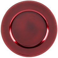 The Jay Companies 13 inch Round Red Beaded Melamine Charger Plate