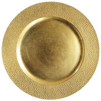 The Jay Companies 13 inch Round Gold Pebbled Polypropylene Charger Plate