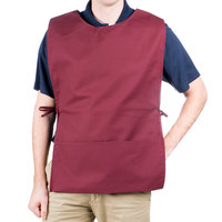 29 inch x 17 1/2 inch Burgundy Poly-Cotton Cobbler Apron with Two Pockets
