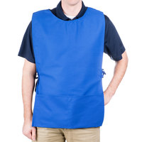 29 inch x 17 1/2 inch Royal Blue Poly-Cotton Cobbler Apron with Two Pockets