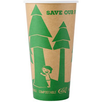 EcoChoice 20 oz. Kraft Compostable and Biodegradable Paper Hot Cup with Tree Design - 50/Pack