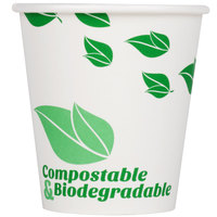 EcoChoice 10 oz. Leaf Print Compostable and Biodegradable Paper Hot Cup - 50/Pack