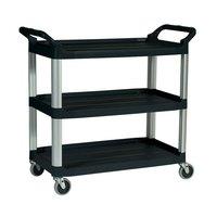 Rubbermaid FG409100BLA Black Three Shelf Utility Cart / Bus Cart 40 inch x 20 inch x 37 inch