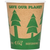 EcoChoice 8 oz. Kraft Compostable and Biodegradable Paper Hot Cup with Tree Design - 50 / Pack