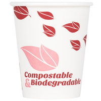 EcoChoice 8 oz. White Compostable and Biodegradable Paper Hot Cup with Leaf Design - 50/Pack