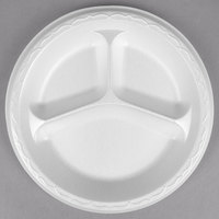 Genpak LAM39 Elite 8 7/8 inch White 3 Compartment Laminated Foam Plate - 500 / Case
