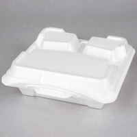 Genpak 203CO-WHT 9 1/4 inch x 9 1/4 inch x 3 inch White Large 3-Compartment Closed Off Foam Hinged Lid Container - 200 / Case