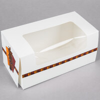 9 inch x 4 1/2 inch x 4 inch White Auto-Popup Window Cake / Bakery / Donut Box with Printed Graphic - 100/Bundle