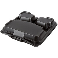 Genpak 203CO-BLK 9 1/4 inch x 9 1/4 inch x 3 inch Black Large 3-Compartment Closed Off Foam Hinged Lid Container - 200 / Case