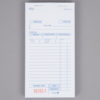 Choice 3 Part White Carbonless Order Delivery Form - 10/Pack