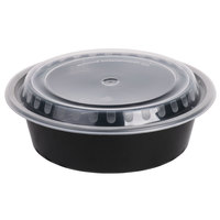 Choice 32 oz. Black 7 1/4 inch Round Microwavable Container with Lid - 150/Case