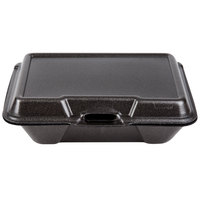 Genpak 20500-BLK 9 3/16 inch x 6 1/2 inch x 2 7/8 inch Black Large Deep All Purpose Foam Hinged Lid Container - 200 / Case
