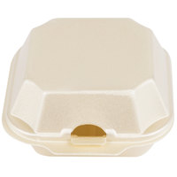 Genpak 22400-SES 5 1/8 inch x 5 3/16 inch x 2 3/4 inch Sesame Medium Foam Hinged Lid Sandwich Container - 500/Case