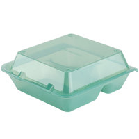 GET EC-01 9 inch x 9 inch x 3 1/2 inch Jade Green 3-Compartment Reusable Eco-Takeouts Container - 12 / Case