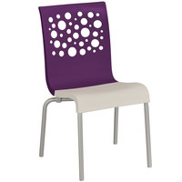 Grosfillex US210151 Tempo Indoor Stacking Resin Chair with Eggplant Back and Linen-Color Seat - 4/Pack