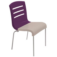 Grosfillex US410151 Domino Indoor Stacking Resin Chair with Eggplant Back and Linen-Color Seat - 4/Pack