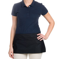 24 inch x 12 inch Black Front of the House Waist Apron with Three Pockets