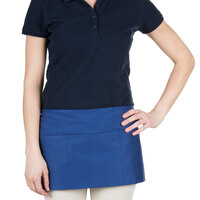 24 inch x 12 inch Royal Blue Front of the House Waist Apron with Three Pockets