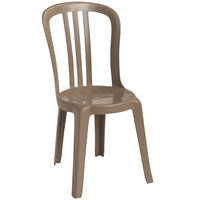 Grosfillex US495181 / US490181 Miami Bistro Taupe Stacking Outdoor Resin Sidechair