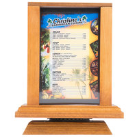 Menu Solutions WT-4S6-OAK 4 inch x 6 inch Oak Four Sided Rotating Wood Table Tent